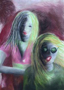 Tusche und Pastell auf Papier von zwei Pubertierenden