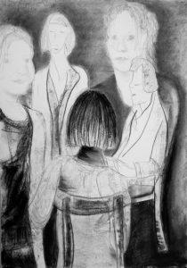 Kohle auf Papier von 5 Menschen im Kreis, in unterschiedlichen Positionen und verschiedenen Alter