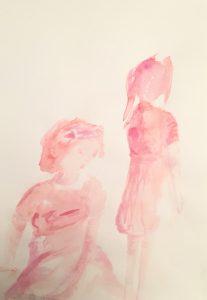 Tusche auf Papier von zwei Mädchen, eins sitzt im Vordergrund, das andere steht im Hintergrund