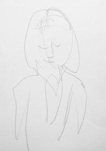 Bleistiftzeichnung von einer in sich versunkenen Frau