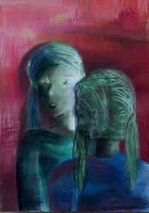 Tusche und Pastell auf Papier von einer Frau, gespiegelt