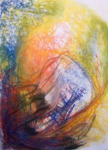 Pastellzeichnung nach einem Musikstück, abstrakt