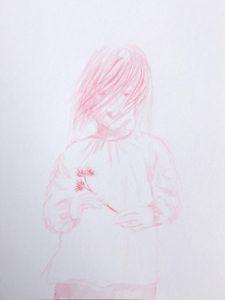 Tusche auf Papier, ein Mädchen mit einer Blume in der Hand in rosa