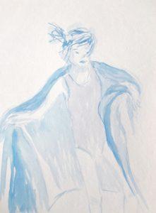 Tusche auf Papier, ein Mädchen in Badeanzug und Decke umhüllt