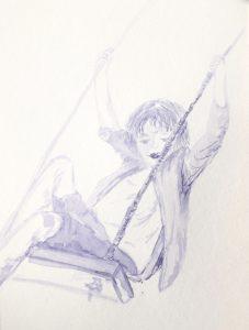 Tusche auf Papier, ein schaukelnder Junge in blau