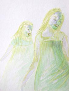 Tusche auf Papier, zwei Mädchen in grünen Farben
