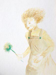 Tusche auf Papier, ein Mädchen mit einer Blume