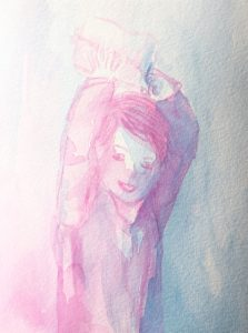 Tusche auf Papier, ein Junge, der ein Päckchen über den Kopf hält