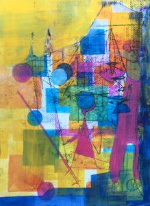 Gouache, Ölpause auf Papier, bunter Zirkus mit Seiltänzern