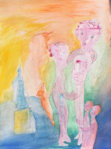 Gouache, Ölpause auf Papier, märchenhafte Gestalten mit schwangerer Person