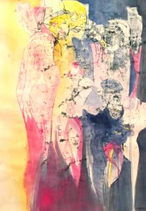 Gouache, Ölpause auf Papier, Menschengruppe, abstrakt