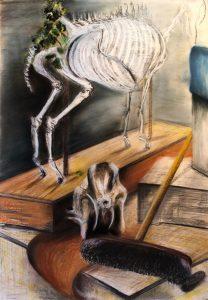 Mischtechnik, Pastell, Kohle auf Papier, Stilleben im Anatomieraum, zwei Tiergerippe , ein Besen, ein Eimer