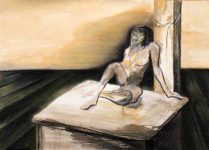 Mischtechnik, Kohle, Pastell auf Papier, auf einem Tisch sitzender Akt
