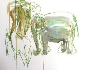 Gouache, Filzstift, Kohle auf Papier, drei Elefanten in verschiedenen Positionen