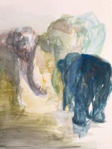 Gouache auf Papier, drei Elefanten in verschiedenen Positionen