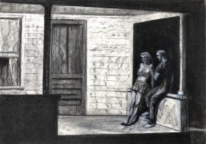 """Kopie""""Summer Evening"""" von Edward Hopper Kohle, Pastell auf Papier"""