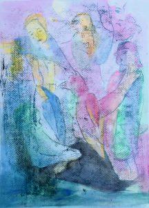 Gouache, Ölpause auf Papier, märchenhafte Gestalten mit rosa Rabe