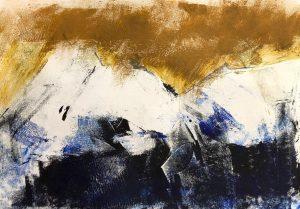 Berglandschaft, Monotypie, Ölpause auf Papier