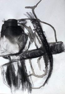 Tusche- und Kohlezeichnung von einem Koala auf einem Ast sitzend, Rückenansicht