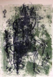 rittlings sitzende Frau auf einem Stuhl, Monotypie, Ölpause auf Papier