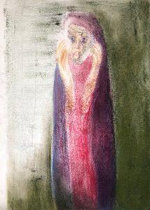 Mariafigur, Monotypie, Pastell auf Papier, 29,5x21cm, 2019