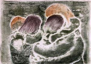 zwei sich umarmende Paare, Monotypie, Pastell auf Papier, 21x30cm, 2019