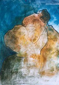 Monotypie, Pastell auf Papier, Kind umarmt Mutter
