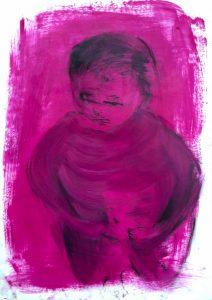 Draufsicht von einem kleinen Kind, was wütend ist, Öl, Ölpause auf Papier