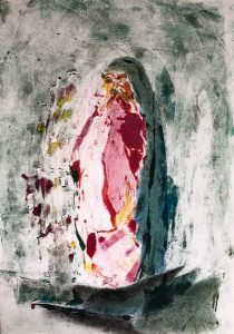 Mariafigur, Monotypie, Pastell, Kohle, 29,5x21cm, 2019