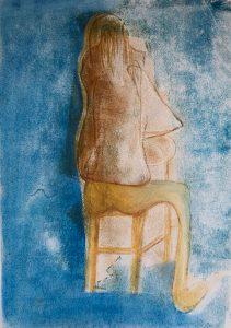 Monotypie, Pastell auf Papier, eine Frau sitzt rittlings auf dem Stuhl