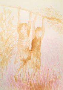 Tusche auf Papier, zwei an einem Baum schaukelnde Mädchen