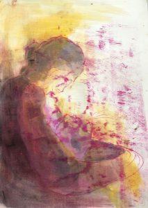 Mutter hält ihr kleines Kind, Seitenansicht, Ölpause, Gouache auf Papier