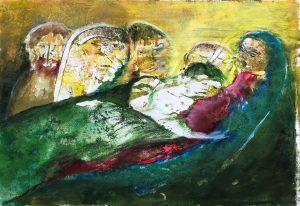 Mariafigur mit Kind, Monotypie, Öl, Pastell auf Papier, 21x29,5cm, 2019