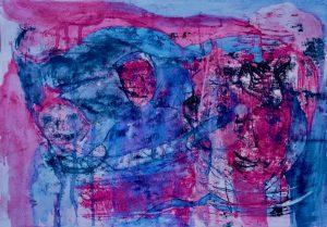 Tusche, Gouache, Ölpause auf Papier, märchenhafte Figuren in Magenta und Blau
