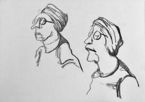 """Zweifache Karikatur einer Frau """"Studie"""" 4 Kohle auf Papier, 42x29,5cm, 2019"""