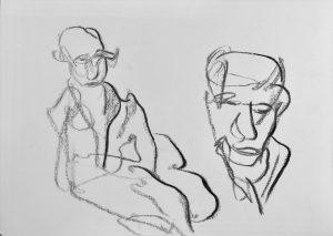 """""""Studie"""" 1 von zwei Personen Kohle auf Papier, 42x29,5cm, 2019"""