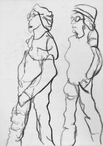 """Karikatur zweier Frauen"""" Studie"""" 5 Kohle auf Papier, 42x29,5cm, 2019"""