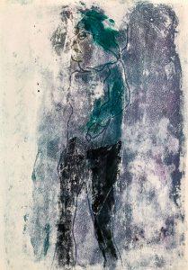 Eine Gestalt von der Seite, Monotypie auf Papier, 42x29,7cm, 2019