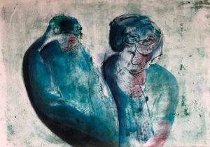 Zwei Gestalten, Monotypie, Pastell auf Papier, 29,7x42cm, 2019
