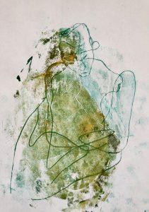 Eine in sich gekehrte Gestalt, Monotypie auf Papier, 30x21cm, 2019