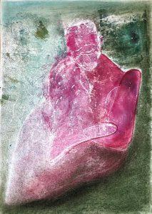Eine in sich gekehrte Gestalt, Monotypie, Pastell auf Papier, 30x21cm, 2019