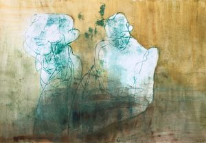 Zwei Gestalten, Monotypie, Öl auf Papier, 29,5x42cm, 2019