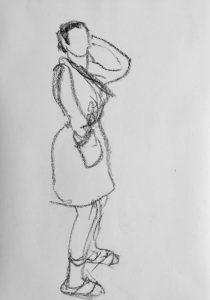 Kohlezeichnung einer posierenden Frau