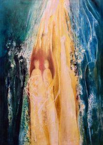 Im Mittelpunkt ein Tor mit zwei Gestalten und einem Engelwesen, an den Rändern stehen im Dunklen weitere Gestalten.