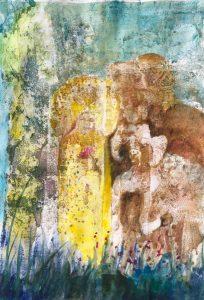 Im Vordergrund eine Blumenfee in leuchtendem Gelb mit einer roten Blume in der Hand, neben ihr ein Schafbock