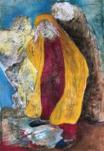 Im Vordergrund eine bestürzte Gestalt im gelben Umhang, dahinter zwei weitere Gestalten