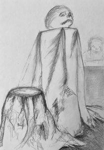 Bleistiftzeichnung von einem Stillleben im Anatomiesaal