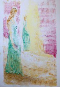 Eine im grünen Kleid gekleidete Frau im Vordergrund erblickt eine identische Frau im Hintergrund, ihr Spiegelbild.