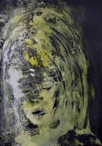 geisterhaftes Gesicht in weiß und gelb auf schwarzem Papier
