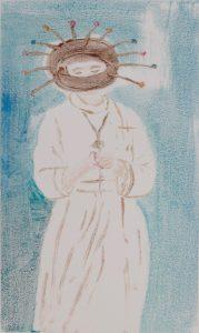 Nonne mit Coronamaske, Monotypie